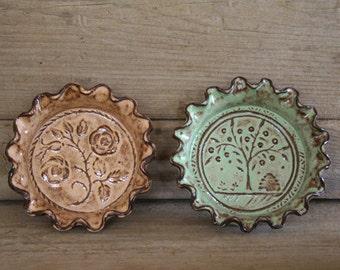 Rustic Folk Art Dish Duo - Bees & Roses