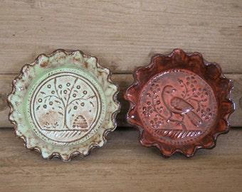 Rustic Folk Art Dish Duo - Tree & Lark