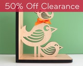 SALE! CLEARANCE 50% OFF! Bird Stack Wooden Animal Modern Bookend