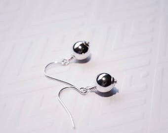Sterling Silver Bead Drop Earrings, Handmade Earrings, Wire Wrapped Earrings, Casual Silver Earrings, Ready to Ship
