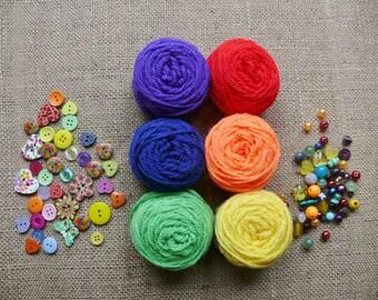 Crochet Kit to make Bright Rainbow Mini Pennant Bunting
