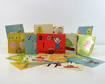 30 Vintage Cardstock Phonics Book Pages