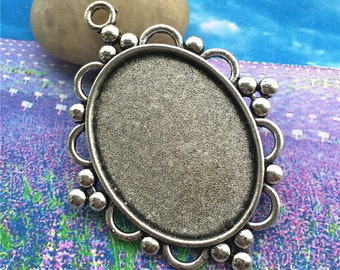 Heavy--4pcs 65x39mm antiqued silver filigree flower oval bezel pendant blanks(fit 40x30mm)