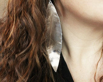 Silver Feather Earrings, metallic earrings, feather earrings, leather earrings