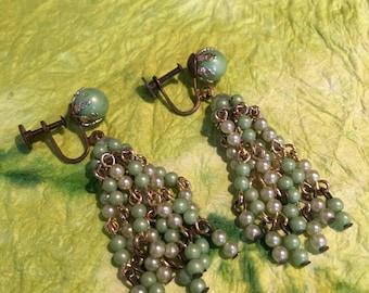 50's vintage Green beaded clip earrings