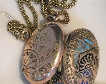 Vintage goldtone locket art nouveau locket .