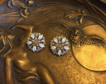 Crown Trafari Crystal and Thermoplast Clip on Earrings