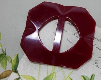 Vintage Red Bakelite Sash Buckle or Slide    OAN20