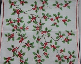 Cotton Christmas Holly & Berry Handkerchief Hankie