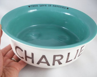 PERSONALIZED PET GIFT, add a gold or silver rim to custom dog bowl, choose a color options for personalized cat bowl, dog or cat water bowl