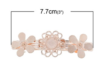 5 pcs Rose Gold Plated French Hair Barrettes Hair Clips - 77mm x 26mm  - 10mm Glue Pad - EXTRA LARGE - Flower Design