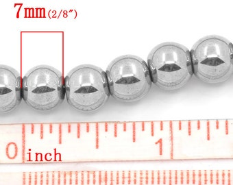 54 pcs. - 8mm Silver Hematite Round Beads - 15.75 inch strand - 1mm Hole Size