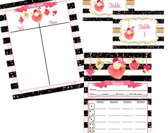 Valentine's Day Bunco Printable Set-Score Cards, Tally Sheet, Table Markers, Black, Gold, with Watercolor Hearts and Flowers- February Bunco