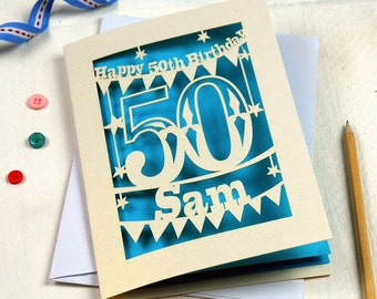 Personalised Laser Cut Papercut Special Age Birthday Card, Happy birthday Card, sku_30_birthday