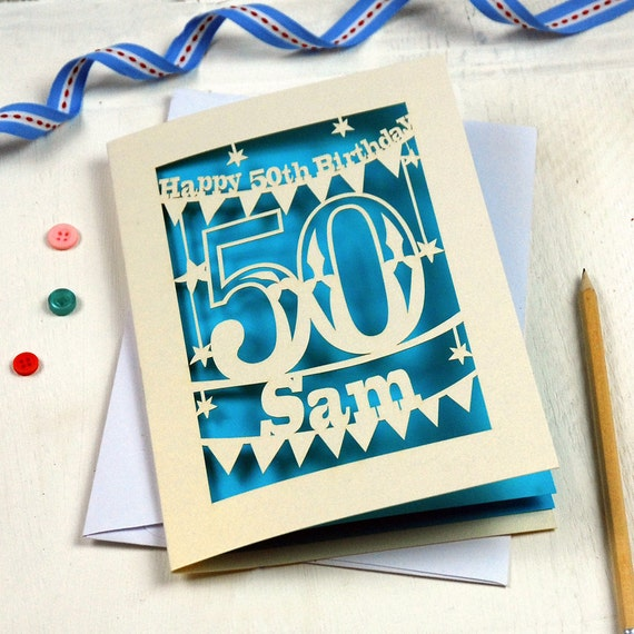 50th Birthday Cards Cricut: Personalised Laser Cut Papercut Special Age Birthday Card
