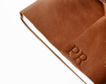 Cognac Brown 4x6  Leather Journal Notebook-  Blank Paper- Personalized with Initials