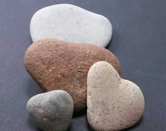 Heart shaped stones - heart rocks - rock heart collection- fossil stone -  heart shape - 4 natural heart stones from Lake Michigan