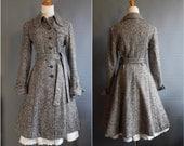 vintage princess coat 1970s full skirted princess coat grey tweed coat fit and flare coat fitted coat salt and pepper coat