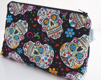 Sugar Skull Makeup Bag, Cosmetic Pouch, Gift for Teen, Handmade, Ready to Ship, Zookaboo