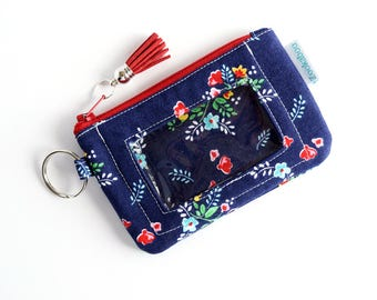 Teacher Gift for Her - Keychain ID Wallet - Zipper Wallet - Coin Pouch - Badge ID Wallet - Handmade Wallet by Zookaboo - Ready to Ship