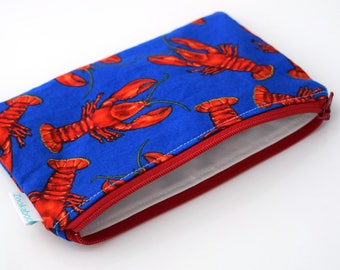 Reusable Snack Pouch - Summer Travel Bag - Lobster Zipper Pouch - Nautical Gift Bags - Nautical Bag - Available in Three Sizes