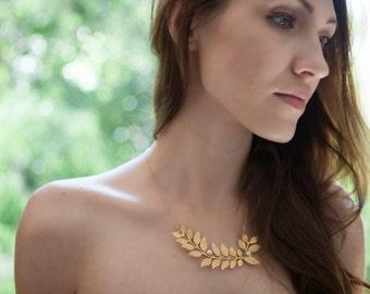 Grecian Leaf Necklace, Wedding Jewelry For Brides, Statement Wedding Necklace, Grecian, Bride Necklace, Grecian Wedding, Branch Necklace
