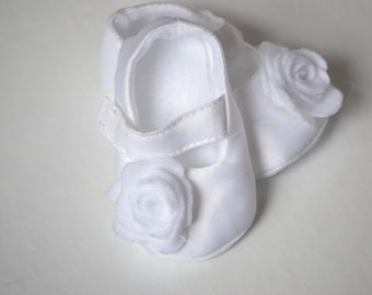white satin christening, baby blessing, and baptism shoes for baby girl