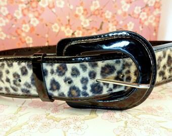 Vintage leopard print black patent large belt, leopard print boho chic hipster belt, retro fur print belt