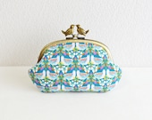 Liberty floral frame coin purse with birds - turquoise