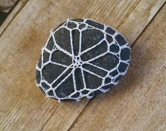Bohemian Paperweight, Boho Hippy Home Fashion, Mandala Rock, Lace Covered Stone, Boho Decor, Crocheted Stone, Yarn Bomb Desk Accessory