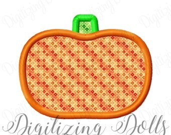 Pumpkin Applique Machine Embroidery Design 3x3 4x4 5x5 5x7 8x8 Halloween Fall Thanksgiving INSTANT DOWNLOAD