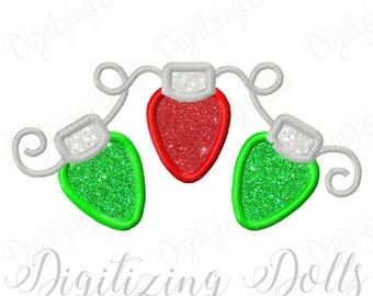 Christmas String Lights Applique Machine Embroidery Design 4x4 5x5 6x6 5x7 8x8 6x10 INSTANT DOWNLOAD