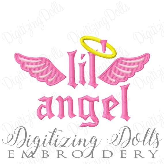 Lil' Angel Machine Embroidery Design Digital File 3x3 4x4 5x5 Little Angel Angle Wings  INSTANT DOWNLOAD