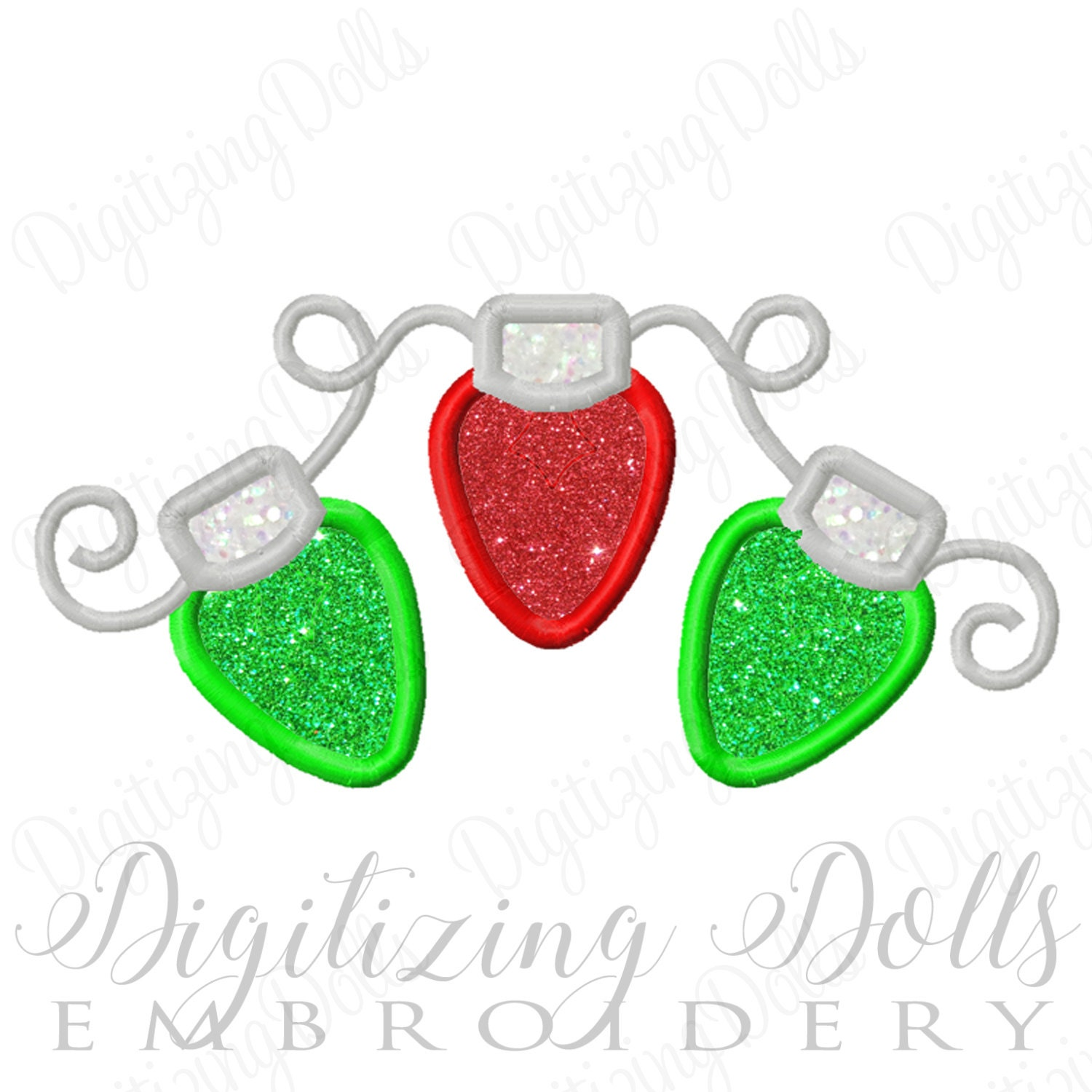 Machine Embroidery Design String Of Christmas Lights