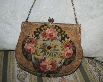 Antique FRENCH Purse Pink ROSES & Ribbons Silk Embroidery