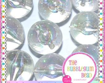 CLEAR AB Transparent Beads Qty 10 20mm Transparent Beads Chunky Bead Chunky Necklace Round Bead 20mm Beads Bubblegum Bead Necklace Clear