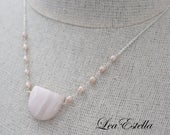 Pale Pink Gemstone Necklace Pink Calcite Necklace Pink Freshwater pearl necklace Hand wired gemstone necklace Pink pendant - Candy Floss