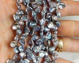 Peacock gray keishi pearls  7-10x5-7mm, corn flake pearls, gray keishi pearl, grey pearl