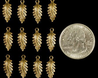 Antique Brass Little Pointed Feather Leaves Charms Set of 12  *AB-C25
