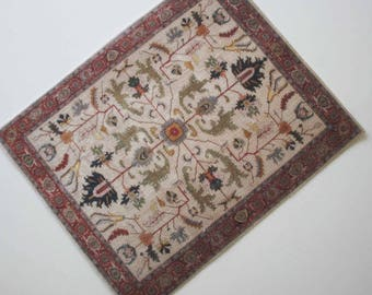 Miniature Persian Carpet in beige and Red 1:12 or Playscale