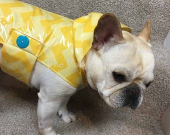 French Bulldog Frenchie Sleek Yellow Chevron Raincoat with Hood
