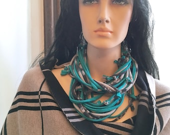 Turquoise and Grey Tie-Dye Knot Scarf