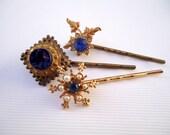 Vintage earrings hair pins- Midnight blue lapis lazuli gemstone antique gold white pearl jewel gem deco unique decorative hair accessories