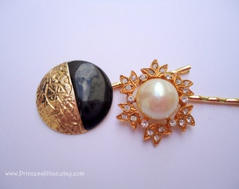 Vintage earrings bobby pins - Grecian goddess black gold nouveau and white pearl with leaf rhinestones jeweled decorative hair accessories