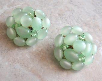 Green Moonglow Earrings Clip On Beaded Clusters Vintage 030515SC