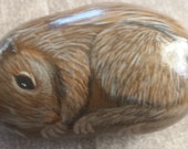 Baby squirrel painted on a rock
