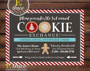 Cookie Exchange Christmas Party Invitation - Holiday Party Invitations - Red, Blue, Gray - Candy Cane Stripes - Cookie Swap Party