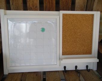 Framed magnetic Dry erase calendar/Message Center/Corkboard Center/Kitchen Message Board