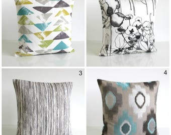 Ikat Pillow Cover, Ikat Cushion Cover, Ikat Pillow Sham, Decorative Pillow, Pillowcase, Triangles, Stripes, Flowers - Teal Collection
