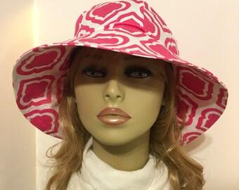 Womens Sun Hat, Garden Hat, Beach Hat, in pink and white print